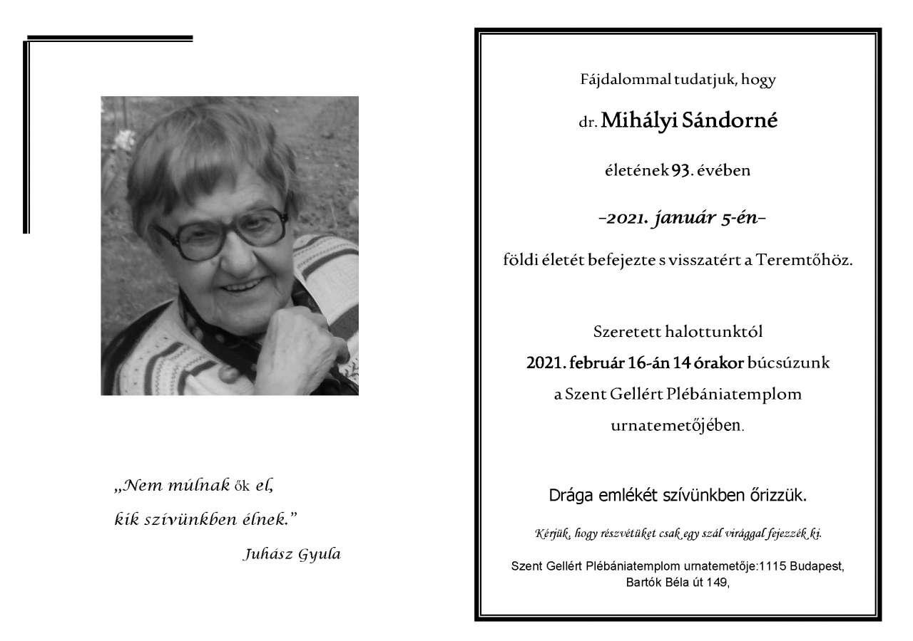 Dr. Mihályi Sándorné gyászjelentés